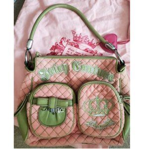 Juicy Couture Velour Handbag Pink / Green HTF Bag